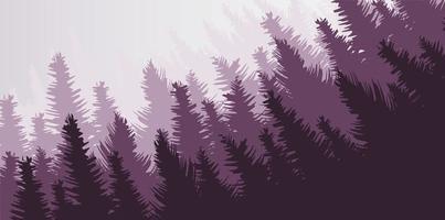 Vector Pine Forest,landscape background,foggy and mist concept design.