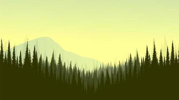 Vector Mountain landscape with Pine Forest,foggy and mist concept design.