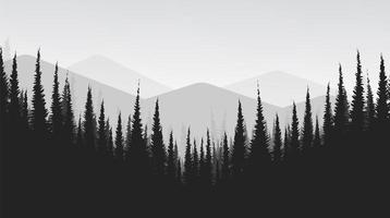 Vector Black and White Mountain landscape with Pine Forest,foggy and mist concept design.