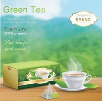 Green tea ad, with tea leaves and package box vector