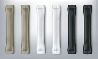 maqueta de palos de sobres de plástico negro, marrón y blanco en blanco vector