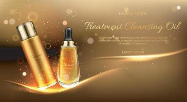 Cosmetics oil for cleansing treatment bottle mockup banner vector