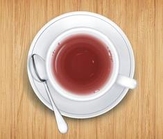 White cup of black tea on saucer stand on wooden table. Top view vector