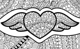 Heart wings design colouring book page for adults and children vector