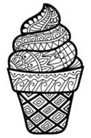 Cup ice cream doodle  love doodle hand drawn colouring book page for children and adults vector
