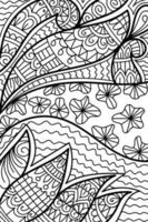 Doodle colouring book page for adults and children white and black round decorative. Anti-stress therapy patterns abstract. Yoga meditation Vector illustration