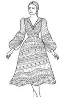Fashion woman posing design colouring book page for adults and children vector