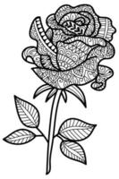 Rose flower design colouring book page for adults and children vector