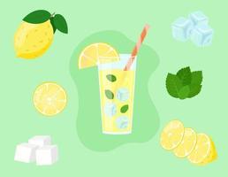 limonada en vaso aislado. rodajas de limón en corte. ingredientes de la bebida fresca de verano. ilustración vectorial vector