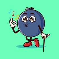 lindo gesto de fruta de arándano y silbido. concepto de icono de personaje de fruta aislado. estilo de dibujos animados plana vector premium