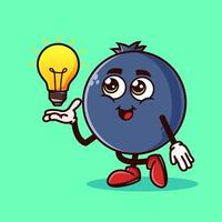 Cute Blueberry fruit character with light bulb Idea on hand. Fruit character icon concept isolated. Emoji Sticker. flat cartoon style Vector