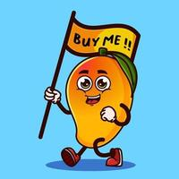Cute Mango fruit character carrying a flag that says buy me. Fruit character icon concept isolated. Emoji Sticker. flat cartoon style Vector