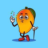 Cute Mango fruit character okay gesture and whistle. Fruit character icon concept isolated. flat cartoon style Premium Vector