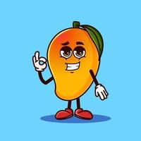Cute Mango fruit character with cool emoji and show gesture OK. Fruit character icon concept isolated. Emoji Sticker. flat cartoon style Vector
