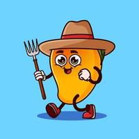 Cute Mango fruit Farmer character with pitchfork. Fruit character icon concept isolated. flat cartoon style Premium Vector