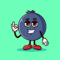 Cute Blueberry fruit character with cool emoji and show gesture OK. Fruit character icon concept isolated. Emoji Sticker. flat cartoon style Vector
