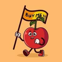 Cute Cherry fruit character carrying a flag that says buy me. Fruit character icon concept isolated. Emoji Sticker. flat cartoon style Vector