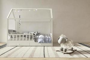 Children room interior scandinavian style. Mock up on wall background. Kids farmhouse style 3d rendering illustration bedroom. photo