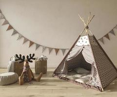 Children room interior scandinavian style with natural wooden furniture. Mock up on wall background. Kids farmhouse style 3d rendering illustration. photo