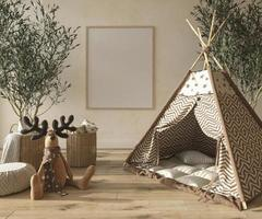 Children room interior scandinavian style with natural wooden furniture. Mock up frame on wall background. Kids farmhouse style 3d rendering illustration. photo