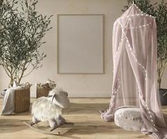Children room girls interior scandinavian style with natural wooden furniture 3d rendering illustration photo