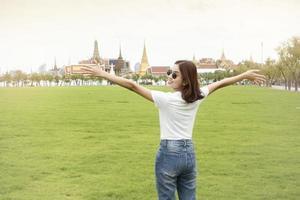 Beautiful woman traveler in Bangkok photo