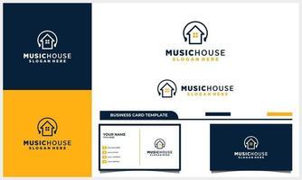 Diseño de logotipo de casa o casa con logotipo de música para auriculares con plantilla de tarjeta de visita vector