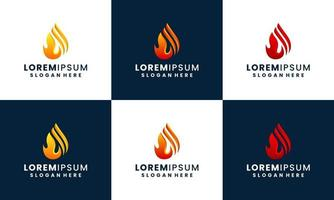fire and flame logo design collection template vector
