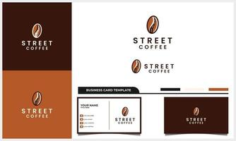 coffee bean with line street logo concept and business card template vector