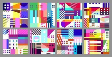 Set of bright geometric seamless patterns. vector