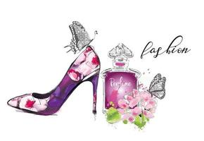 Beautiful card with high heel shoe, flowers and butterfly. Fashion illustration. vector