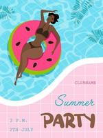 Summer party poster. Pool party. vector