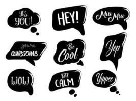 Vector set of speech bubbles in comic style. Hand drawn set of dialog windows with short phrases.