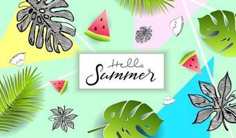 Vector summer poster. Paper cut style. Hello summer.