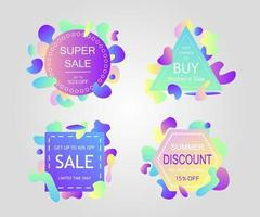 Modern liquid abstract sale signs. vector