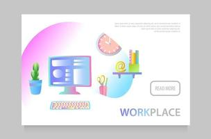 Concept of workplace with computer and office equipment. Vector illustration.