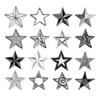Vector collection of hand drawn doodle stars.