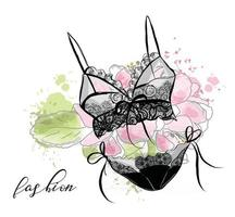 Fashion sketch women's lace sexy lingerie, bra and panties. Flower background. vector