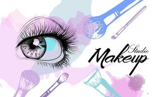 Vector hand drawn illustration of colorful women eye and makeup brushes. Concept for beauty salon, cosmetics label, cosmetology procedures, visage and makeup.