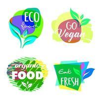 Set of logos for vegan, eco and organic food. vector