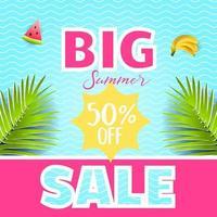 Vector summer poster. Paper cut style. Summer Sale.
