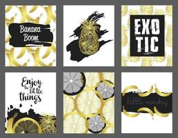 Set of hand drawn cards. Vector collection of black, white, gold colored cute cards. Beautiful posters with pineapple, banana and lemon.