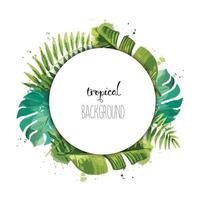 Summer template design with green tropical plants and palm leaves. vector