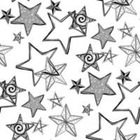 Creative seamless pattern with doodle stars. vector