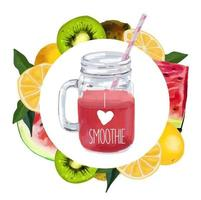 Smoothie jar with tropical leaf, watermelon, kiwi and oranges. vector