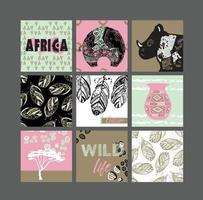Set of artistic creative african cards. Design for poster, card, invitation, placard, brochure, flyer. Vector templates.