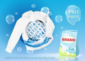 Vector realistic banner with laundry detergent and white shirt.