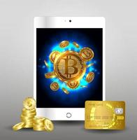 Futuristic digital background with bitcoin to tablet . The concept of a technological network. vector
