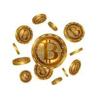 Vector illustration of realistic 3d golden bitcoins.