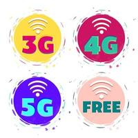 3G, 4G, 5G and free wi-fi vector icons.